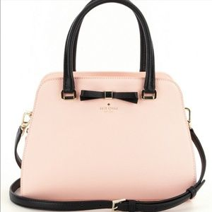 NEW KATE SPADE PINK PEBBLED LEATHER BLACK BOW BAG